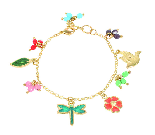 Adjustable Bracelet with Enameled Charms
