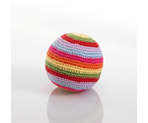 100% Organic Cotton Fairtrade Stripey Crochet Ball Rattle