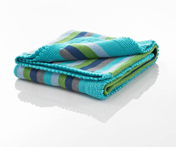 100% Organic Cotton Fairtrade Hand Knitted Baby blanket - Blue Stripe