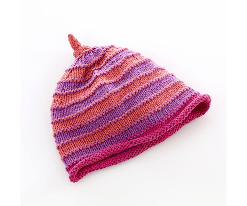 100% Organic Cotton Fairtrade Stripey Hat Coral/Mulberry - 6 months