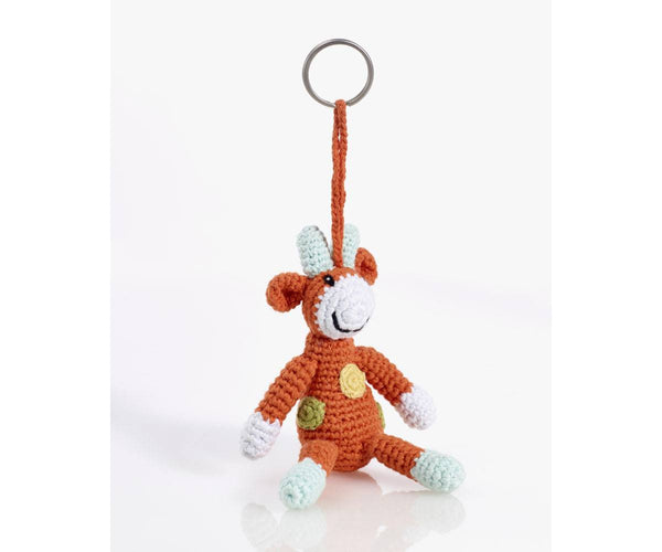 Organic Cotton Fairtrade Crochet Keyring - Giraffe