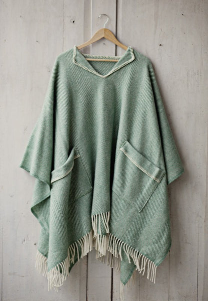 Greta 100% New Zealand Wool Cape - Green