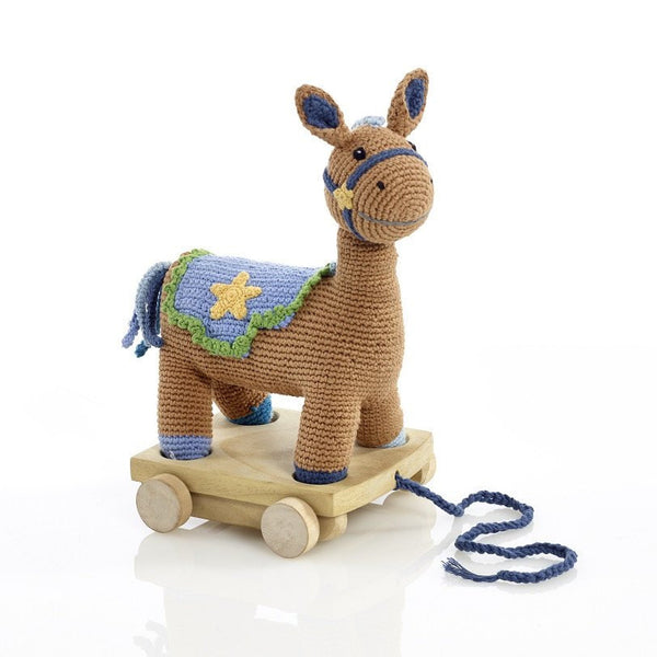 Organic Cotton Fairtrade Horse Pull Along Pony Toy - Blue