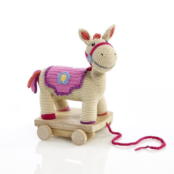 Organic Cotton Fairtrade Horse Pull Along Pony Toy - Pink