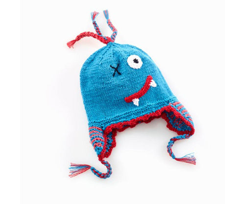 100% Organic Cotton Fairtrade Scary Monster Hat - Blue