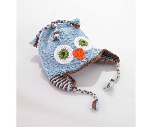 100% Organic Cotton Fairtrade Owl Motif Hat - Blue