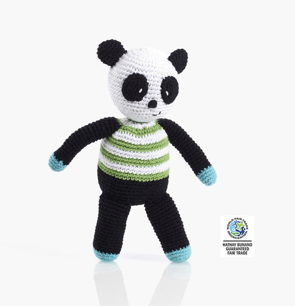 100% Organic Cotton Fairtrade Handmade Panda Rattle