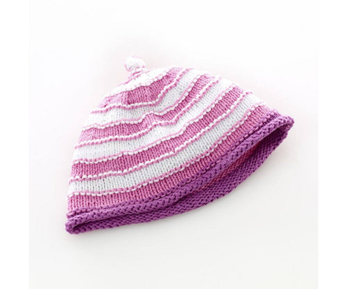 100% Organic Cotton Fairtrade Stripey Hat Pink/White - 6 months