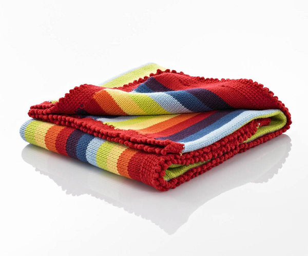 100% Organic Cotton Fairtrade Hand Knitted Baby blanket - Rainbow