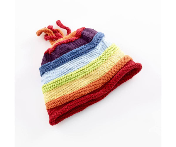 100% Organic Cotton Fairtrade Knitted Pastel Rainbow Hat - 6 months