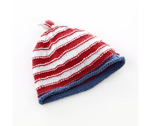 100% Organic Cotton Fairtrade Stripey Hat Red/White - 6 months