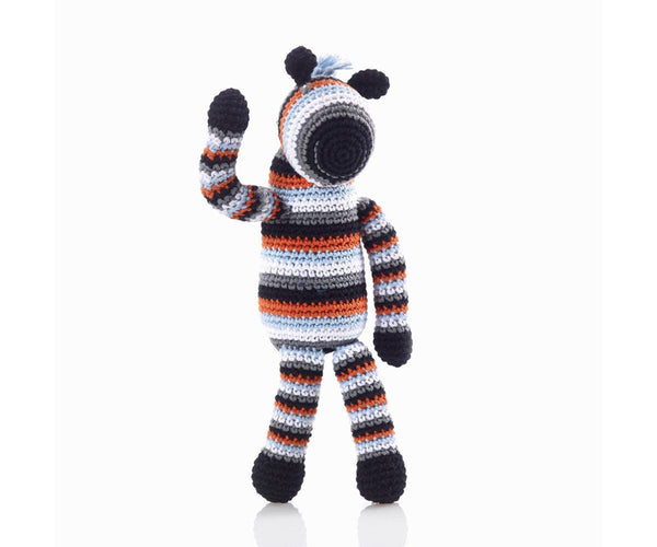 100% Organic Cotton Fairtrade Handmade Zebra Rattle