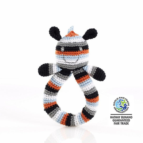 100% Organic Cotton Fairtrade Zebra Ring Rattle