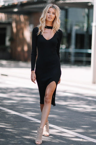 Becky Knit Dress in Black