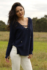 Come Aboard! Navy Lace-Up V-Neck