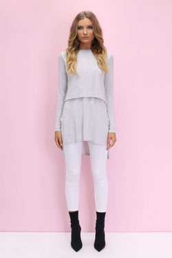 Nieve Knit Top in Moonlight Grey