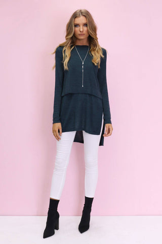 Nieve Overlay Knit Top in Midnight Teal