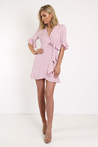 Checked Out Wrap Dress - PRE-ORDER