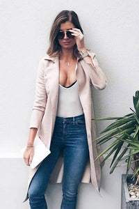 Solomon Coat in Light Pink Suedette