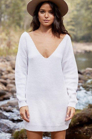 Sunday Morning Knit Dress in White