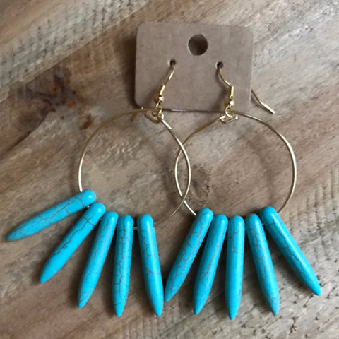 Turquoise Howlite Short Spike Fan Hoops // made in Charleston, SC