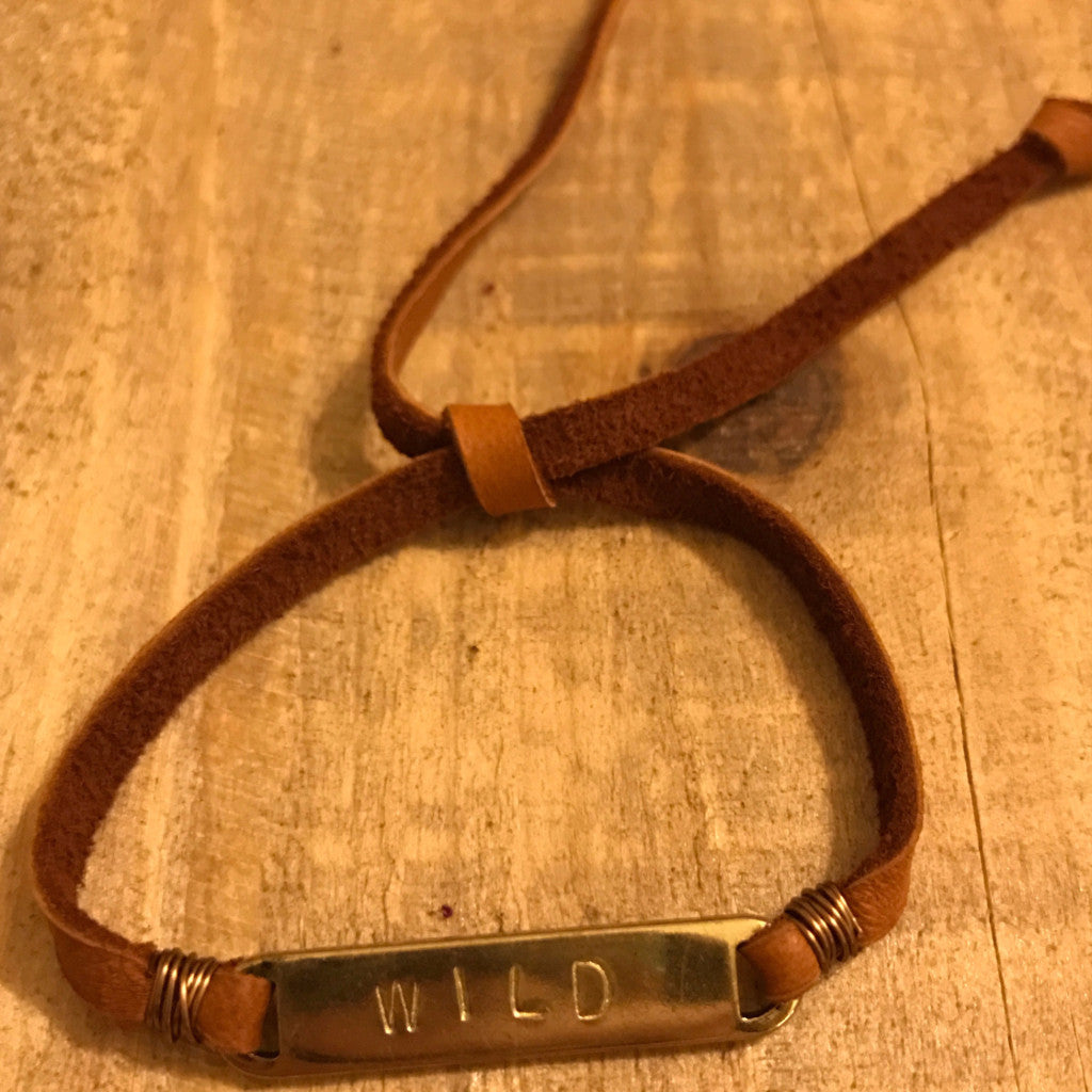Wild Handstamped Slipknot Bracelet with Camel Deerskin Lace // made in Charleston, SC
