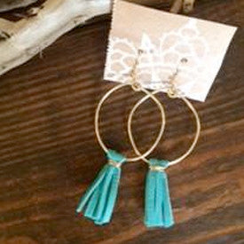 Turquoise Deerskin Lace Tassel Hoops // made in Charleston, SC