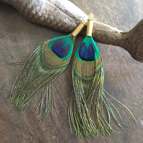 Peacock 22mm Bullet Casing Feather Earrings // made in Charleston, SC