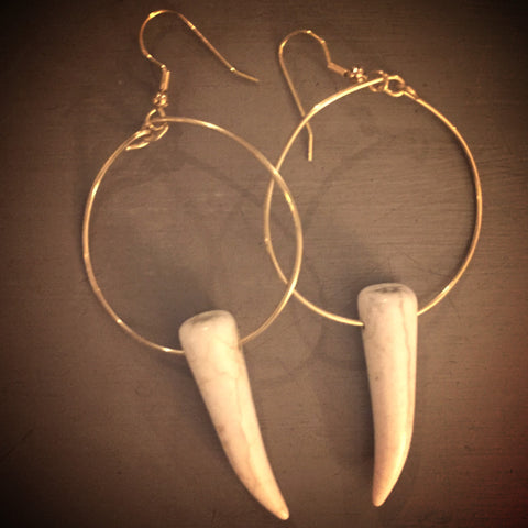 White Howlite Tusk Hoops  // made in Charleston, SC