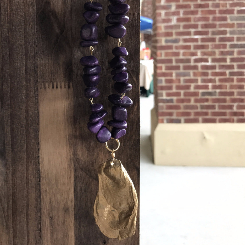 Brown Leather Gold Oyster Necklace with Purple Stones // Handmade and Handpainted in Charleston, SC