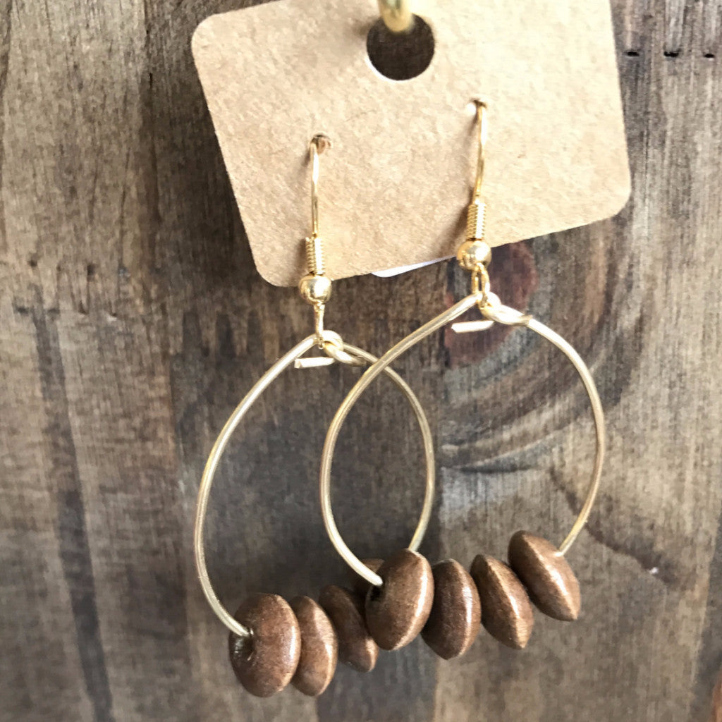 Wood Beaded Gold Hoops  // made in Charleston, SC