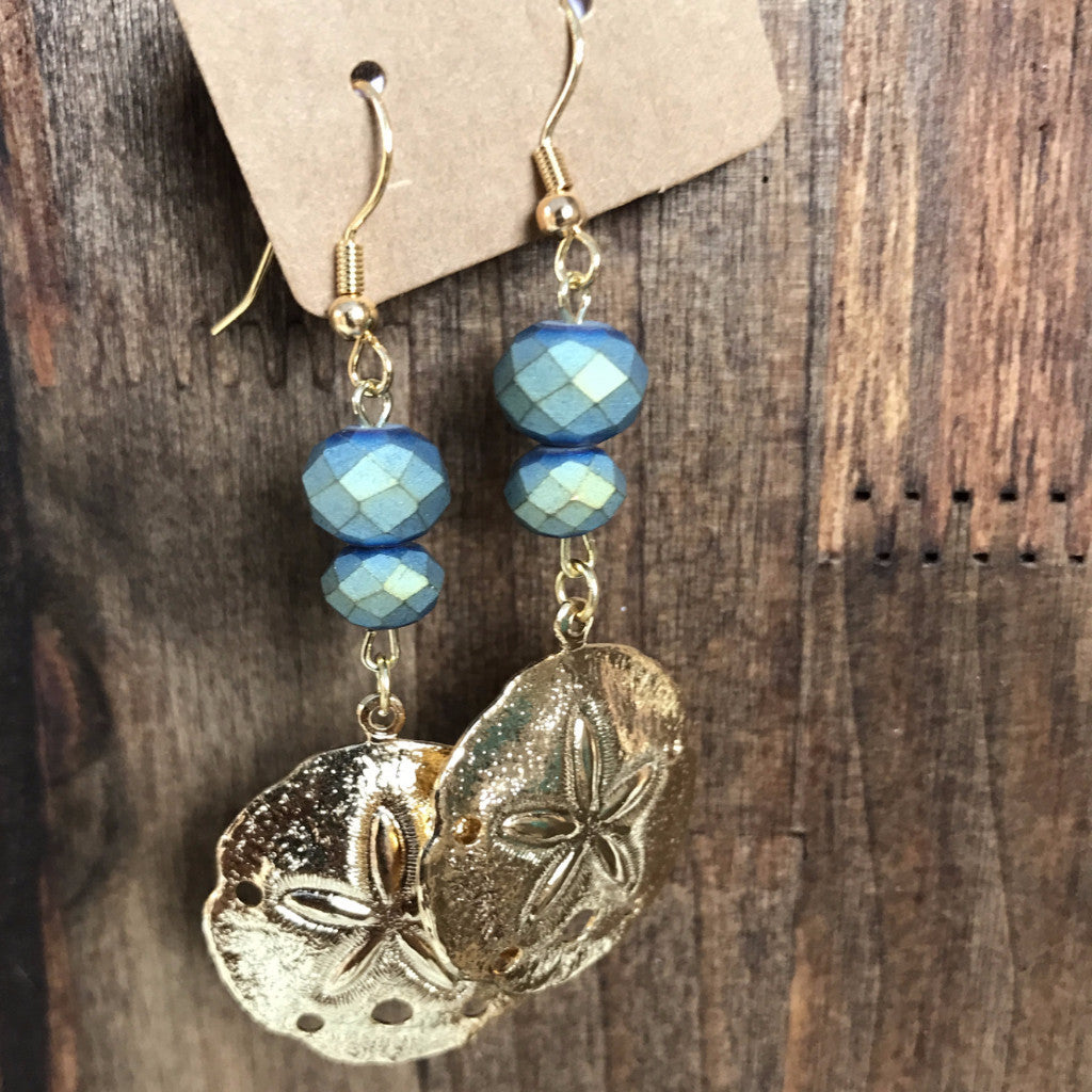 Mermaid Stone Sand Dollar Earrings  // made in Charleston, SC