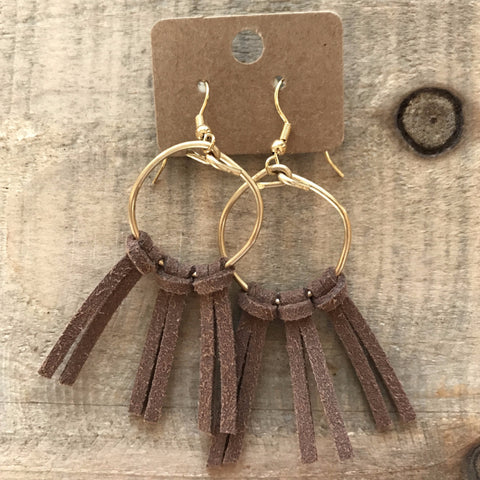Brown Suede Multi-Tassel Hoops  // made in Charleston, SC