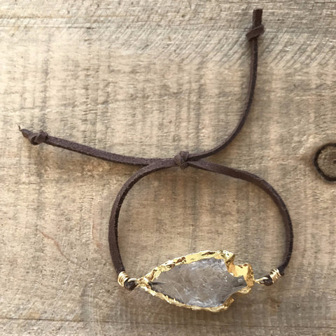 Quartz Arrowhead & Brown Suede Slipknot Bracelet // made in Charleston, SC