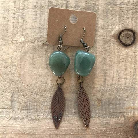 Green and Bronze Feather Dangle Earrings // made in Charleston, SC