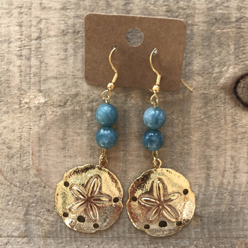 Blue Sand Dollar Earrings  // made in Charleston, SC