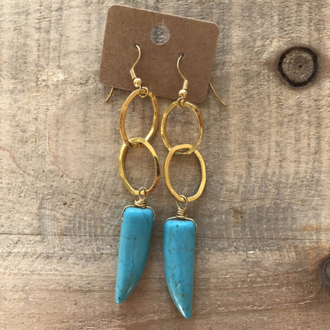 Turquoise Tusk and Hammered Chain Dangle Earrings // made in Charleston, SC