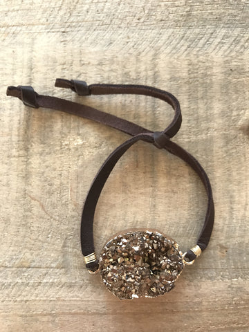 Coffee Druzy Slipknot Bracelet with Brown Deerskin Lace Band // made in Charleston, SC