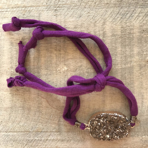 Coffee Druzy Slipknot Bracelet with Purple Recycled Textile Band // made in Charleston, SC