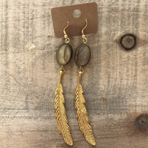 Brown and Gold Feather Earrings // made in Charleston, SC