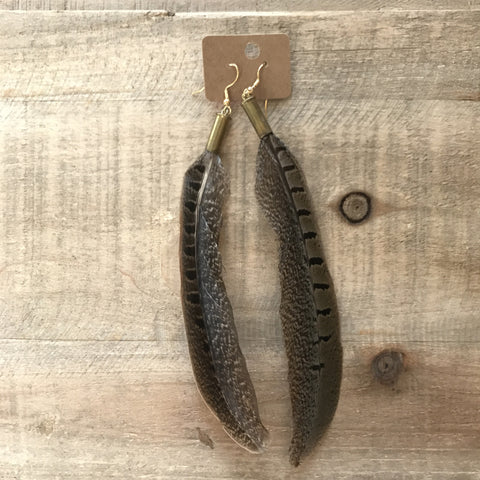 Pheasant Feather 22mm Bullet Earrings // made in Charleston, SC