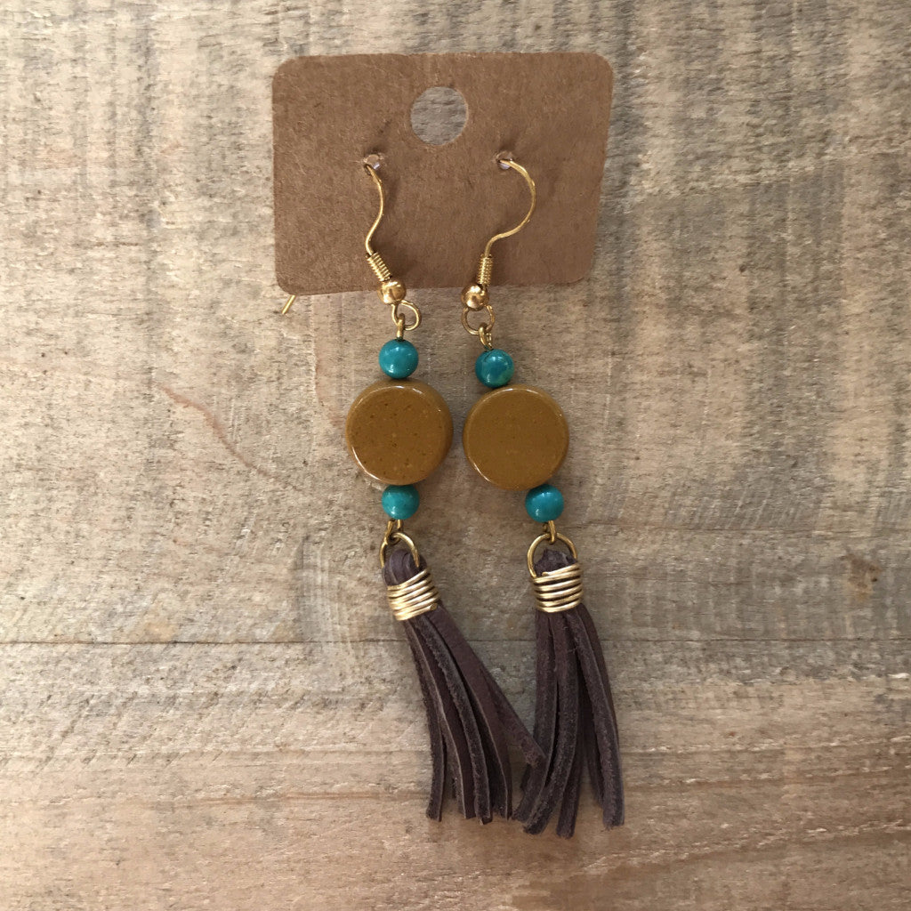 Beaded Deerskin Lace Tassel Earrings // made in Charleston, SC