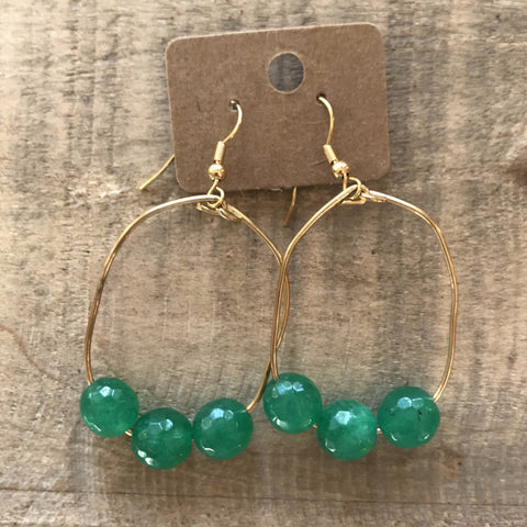 Faceted Green Glass Bead Hoops // made in Charleston, SC