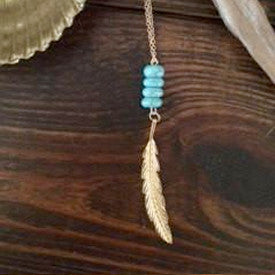 14kt Gold Filled Turquoise Howlite & Gold Feather Necklace // made in Charleston, SC