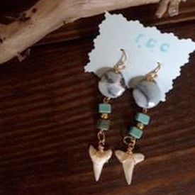 Turquoise and Gold Shark Tooth Dangle Earrings