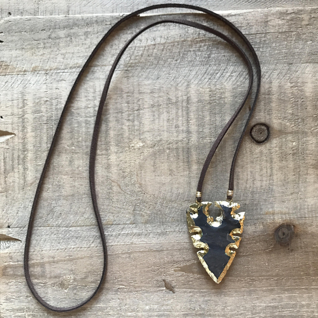 Suede Electroplated Arrowhead Stone Necklace // made in Charleston, SC
