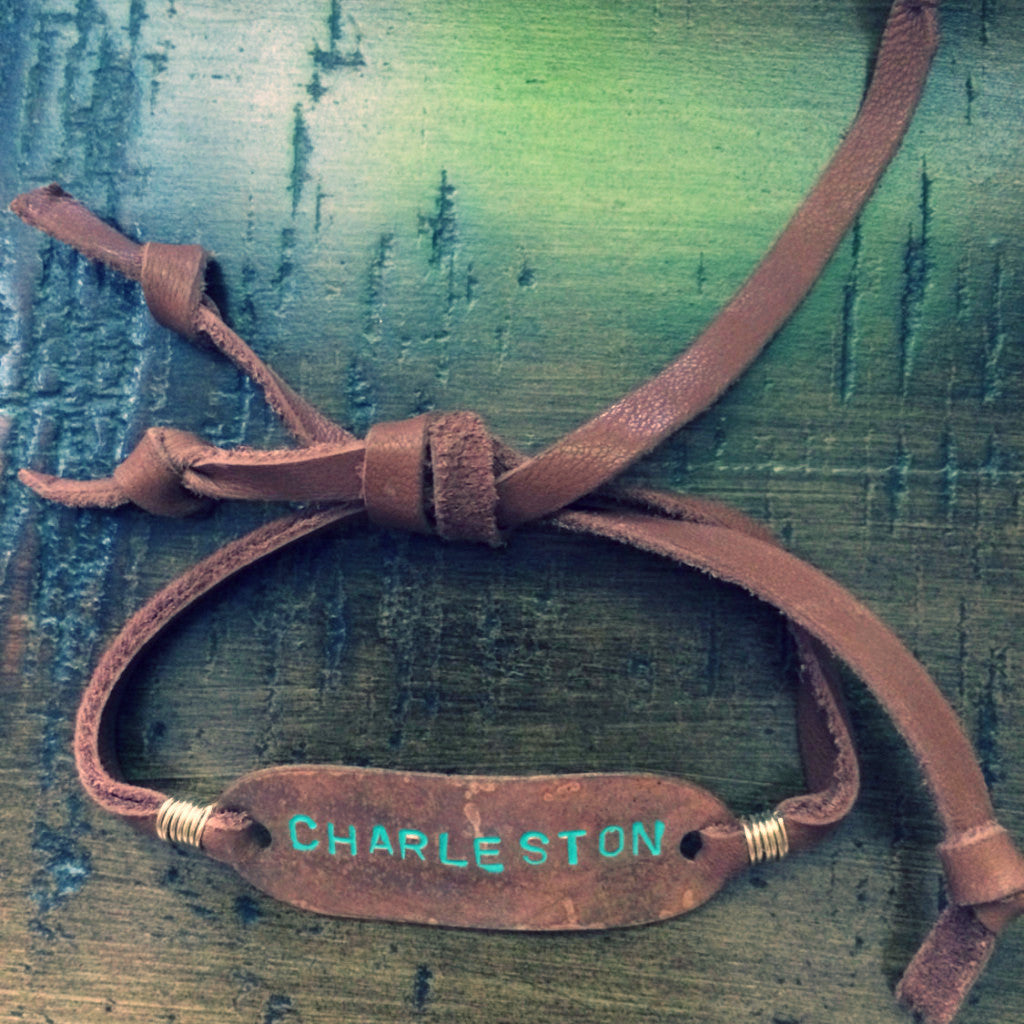 Charleston Handstamped Camel Leather Slipknot Bracelet // made in Charleston, SC