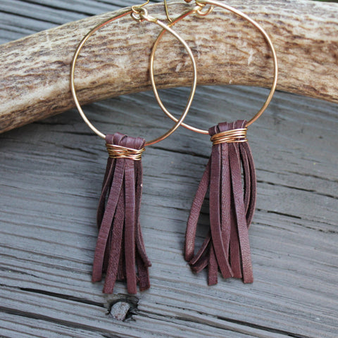 Brown Deerskin Lace Tassel Hoops  // made in Charleston, SC
