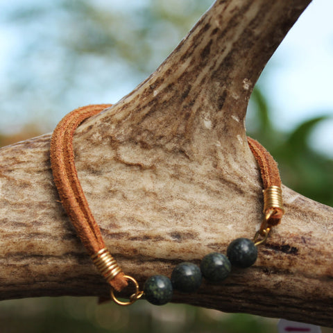 Larvikite Gray Beaded Stack Slipknot Bracelet with Tan Suede // made in Charleston, SC