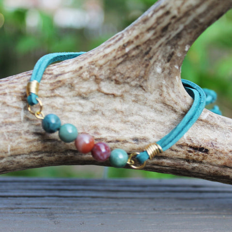 Rainbow Jasper and Teal Suede Slipknot Bracelet // made in Charleston, SC